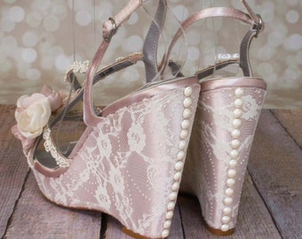 Wedding Shoes -- Antique Rose Platform Wedge Wedding Shoes with Ivory Lace Overlay Ivory Pearl Buttons and Handmade Flowers