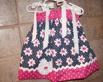 Girls Pillowcase Dress....Daisy Dots...sizes 0-3, 0-6, 6-12, 12-18, 18-24 months, 2T, 3T