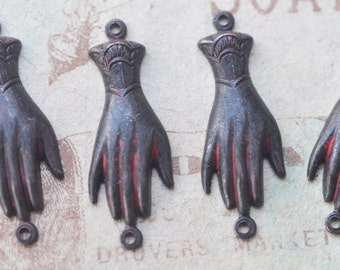 FOUR brass hand connectors with two hoops, Wicked Sassy Patina