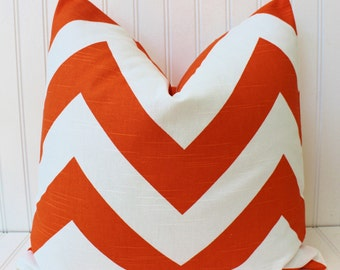 Orange Pillow Cover, Orange Throw Pillow, Decorative Pillow, Accent Pillow, Orange Cushion Cover, Chevron Pillow, 18 inch, 20 inch