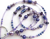 PURPLE PALACE-- Beaded ID Lanyard- Polymer Clay Beads, Purple and Lavender Pearls, Sparkling Crystals, & Tibetan Silver (Magnetic Clasp)