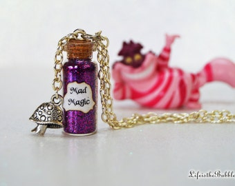 Disney Jewelry, Alice in Wonderland Necklace, Cheshire Cat Mad Magic Mushroom Charm, Through the Looking Glass, Disneybound, Alice Cosplay