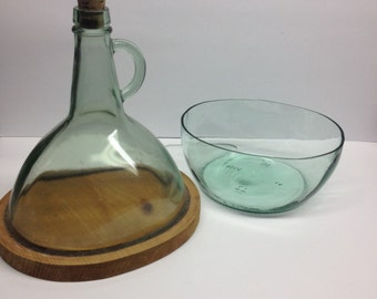 Vintage Handmade Wine Decanter with Ice Bowl