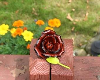 Rose Brooch Pin Brown Flower