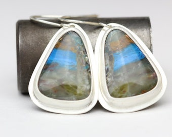 Peruvian Blue Opal & Sterling Earrings, AAA Grade, Caribbean Blue, OOAK Drop Earrings