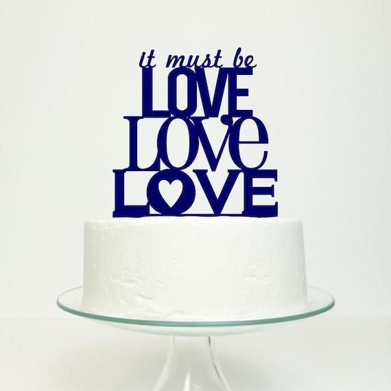 Wedding Cake Topper - 'It Must Be Love, Love, Love'  Original Miss Cake Design