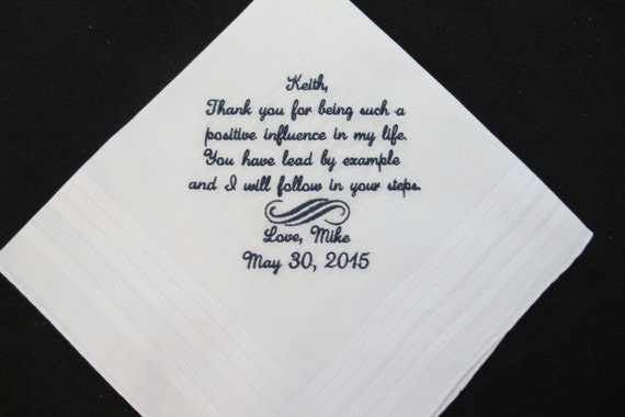 Wedding Handkerchief for the Stepfather of the Groom