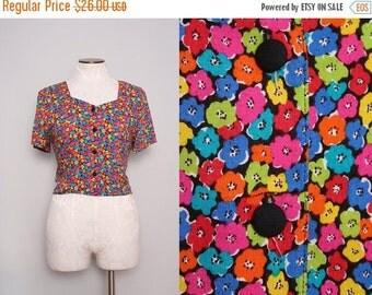 SALE 1980s Floral Top / Vintage 80s Colorful Floral Print Blouse / Size Medium Large