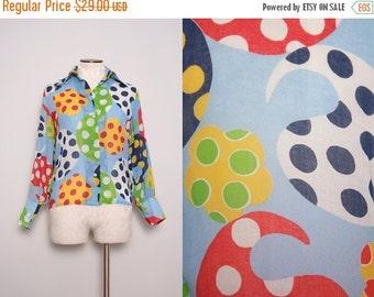 SALE 1960s Funky Print Shirt / Vintage 60s Colorful Paisley Blouse / Size Medium Large
