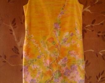 60s bright yellow flowered shift dress