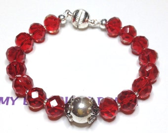 "Handmade 7.5"" RUBY RED Faceted Art Glass BRACELET Silver Accents Bead Caps Magnetic Clasp"