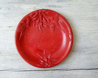 Red Stoneware  Plate, Vintage Italian Bird Flower Serving Platter, Rustic Ceramic Tableware, Christmas Table Pottery Art, Handcrafted Plate