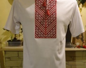 Ukrainian Embroidered Men's T Shirt. White. Geometric and Short Sleeve