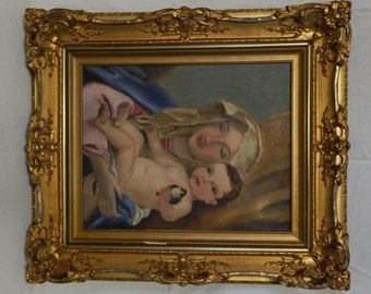 Vintage Religious Madonna & Child Portrait Oil Painting/Art Ornate Gold Frame (After Giovanni Battista Tiepolo)