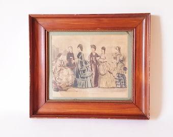 1880 Illman Brothers August 1870 Hand Colored Fashion Print Framed Home Decor Gift  Antique Fashion Decor Art Illustration Original