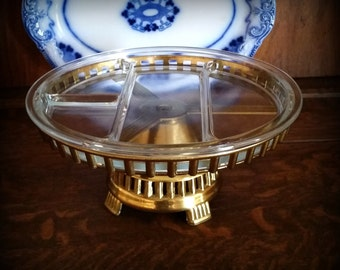 Art Deco Buffet Server - Brass & Glass Lazy Susan - Vintage Relish Tray
