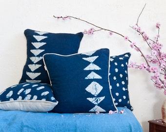 Tribal Arrow  Diamond Indigo Linen Cushion Cover Naturally Dyed and Handmade by Bind and Fold Australia