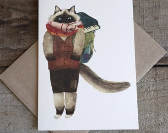 """Travel Cat """"Ludwig"""" All purpose greeting card with a craft paper envelope"""