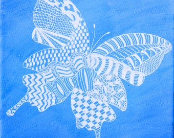 Zentangle Butterfly Art Print of Original Painting, Wall Decor, Other Colors Available