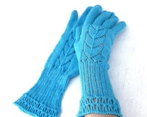 knitted women's gloves, knit lace blue gloves with fingers, knitting light blue costume gloves, handmade accessories, winter gloves