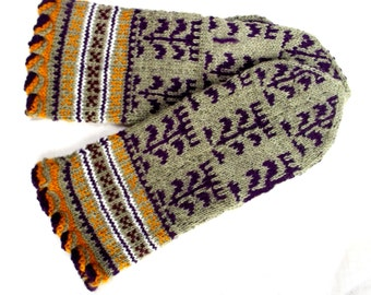 knitted mittens, handknit latvian wool mittens, nordic colorful adult mitts, patterned gray purple winter gloves, women men accessories