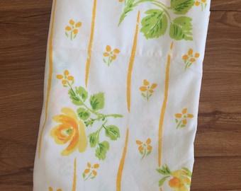 Vintage Twin Flat Sheet Yellow Rose Bedding Martex Percale Yellow Floral Sheet Retro Bedding