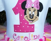 Minnie Mouse Birthday Shirt- Pink and Yellow-SHIRT ONLY-Personalized FREE
