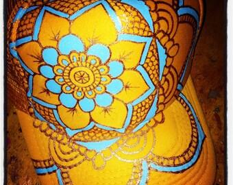 Sunflower yellow trucker with handpainted goldy/blue full mandala