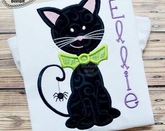 Black Cat - Halloween Applique Shirt customized with name - Girl's Halloween Shirt - Holiday Designs - Monogrammed Shirt