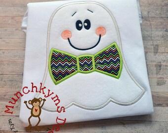 Ghost with Bowtie Halloween Shirt  - Halloween Applique Shirt - Boy's Halloween Shirt - Holiday Designs - Monogrammed Shirt