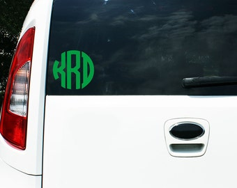 5 inch CIRCLE Style Monogram Decal - Car Decal - Monogram Decal - Vinyl - Computer Decal - Notebook decal - Back to school labels