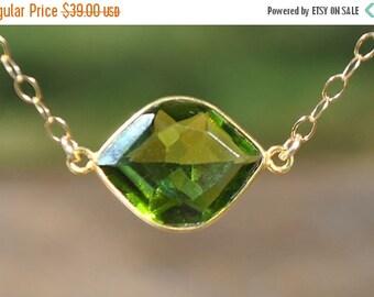SALE Gold Peridot Necklace - Peridot Choker Necklace - August Birthstone Necklace - August Birthstone Jewelry - Peridot Jewelry
