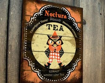 Owl Sign Vintage Antique style Wood Halloween Yard Art Tea ad sign for outdoor decor