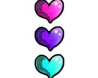 Heart Stickers waterproof vinyl for Car window decals crafts iPhone, IPad or other devices SET of THREE