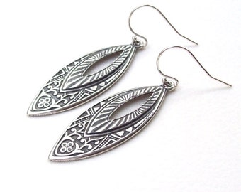 Silver Earrings,  Marquise Earrings, sterling , art nouveau, art deco, french hooks, vintage style, dangle, oval, fashion, 925
