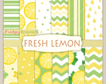 "ON SALE Digital paper background 12""x12"" , printable digital paper ,No.245/2, polkadots,lemon digital paper, yellow, lemon, summer color"