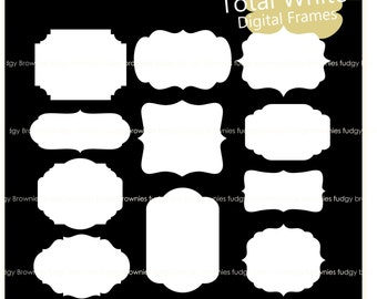 ON SALE Digital Labels Frames Clipart, bracket frames,white frame, gift tag,frame A-229 , instant download