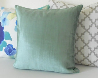 Teal velvet decorative pillow cover, accent pillow, solid blue green velvet throw pillow