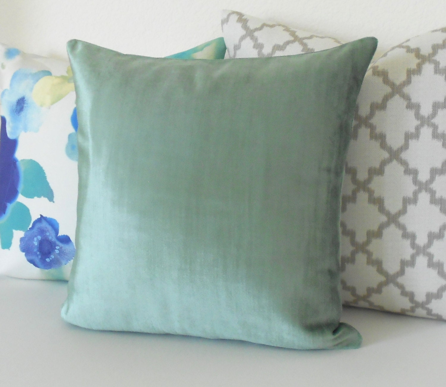 Decorative Pillows With Teal : Teal velvet decorative pillow cover accent pillow solid blue
