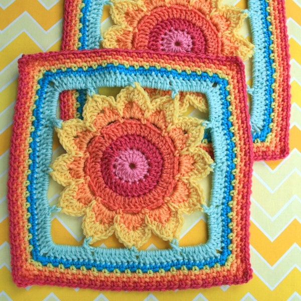 Crochet Pattern Big Framed Flower Square PDF Instant
