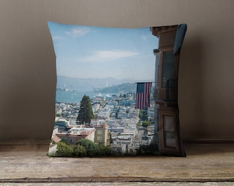 Decorative Pillow cover - pillow cover - lombard street san francisco pillow cover - san francisco pillow cover - usa flag pillow cover