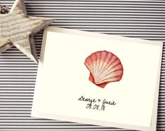 Personalized - Greeting/Thank you Cards, Custom Printable - Olivia Beach - Watercolor Shell