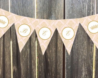 Instant Download - Little Princess - Light Pink and Gold Damask - Printable Pennant/Bunting Banner
