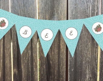 Instant Download - Printable Pennant, Bunting Banner - Joelle - Aqua with Pink Roses