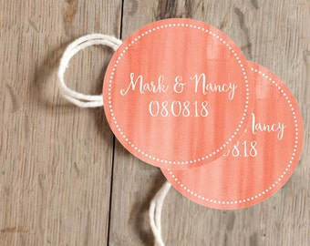 Instant Download - 12 Printable Gift, Favor Tags - Coral Watercolor