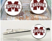 Sports gift set, Mississippi State Bulldogs inspired cuff links, tie clip or complete set,college logo cufflinks,sporty stocking stuffer