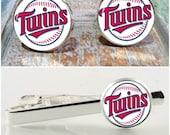 Minnesota Twins baseball fan accessories. Baseball cufflinks, baseball tie clip or baseball gift set.  Available in gold, silver or gunmetal