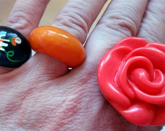 Tall Dome Vintage Butterscotch Orange Yellow Bakelite Catalin Ring Size 7.5 Converted from ClipOns