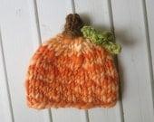 Newborn Knit Crochet One of a Kind Handspun Merino Pumpkin Hat - Ready to Ship Autumn Fall Photography Prop, RTS Fall Photography Prop