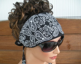 Fabric Headband Summer Fashion Accessories Women Headband Headscarf Bandana Headwrap in Black Paisley print - Choose color